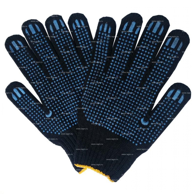 Перчатки трикотажные Супер-Люкс с ПВХ черные