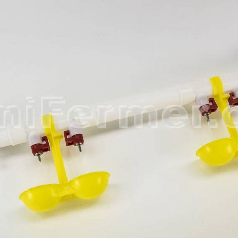 Ниппельная поилка двойная с каплеуловителем НП18  2шт в сборе (комплект для самостоятельной сборки)